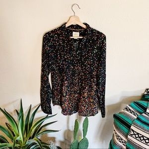 Maeve Black Confetti Cargo Pocket Button Down